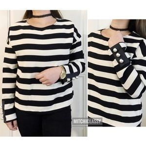 💖Zara💖 Long Sleeves Striped top with Pearls